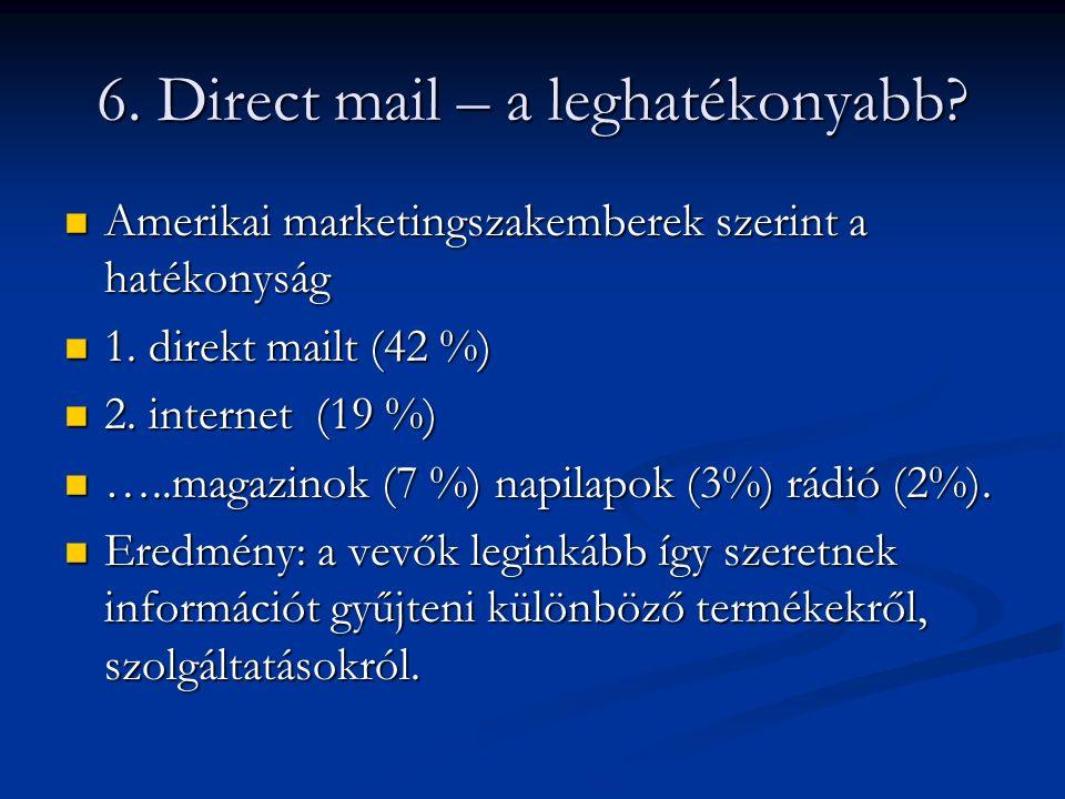 6. Direct mail – a leghatékonyabb? Amerikai marketingszakemberek szerint a hatékonyság Amerikai marketingszakemberek szerint a hatékonyság 1. direkt m