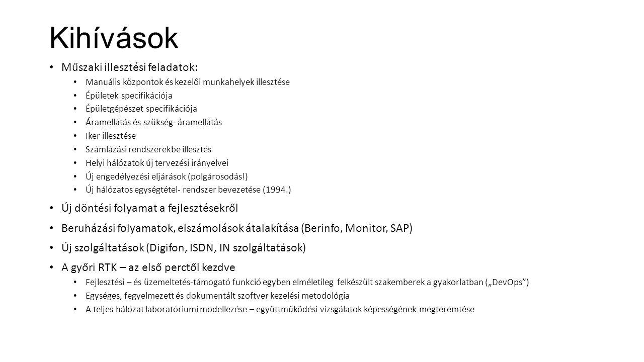 """Kihívások Műszaki illesztési feladatok: Manuális központok és kezelői munkahelyek illesztése Épületek specifikációja Épületgépészet specifikációja Áramellátás és szükség- áramellátás Iker illesztése Számlázási rendszerekbe illesztés Helyi hálózatok új tervezési irányelvei Új engedélyezési eljárások (polgárosodás!) Új hálózatos egységtétel- rendszer bevezetése (1994.) Új döntési folyamat a fejlesztésekről Beruházási folyamatok, elszámolások átalakítása (Berinfo, Monitor, SAP) Új szolgáltatások (Digifon, ISDN, IN szolgáltatások) A győri RTK – az első perctől kezdve Fejlesztési – és üzemeltetés-támogató funkció egyben elméletileg felkészült szakemberek a gyakorlatban (""""DevOps ) Egységes, fegyelmezett és dokumentált szoftver kezelési metodológia A teljes hálózat laboratóriumi modellezése – együttműködési vizsgálatok képességének megteremtése A korábbi tempó a többszörösére gyorsult."""