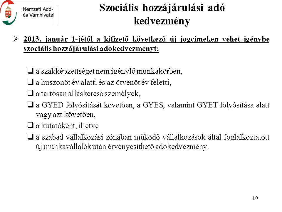 10 Szociális hozzájárulási adó kedvezmény  2013. január 1-jétől a kifizető következő új jogcímeken vehet igénybe szociális hozzájárulási adókedvezmén