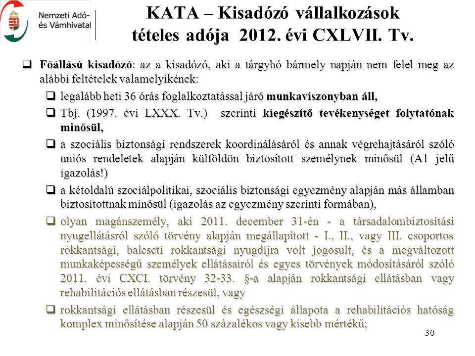 30 KATA – Kisadózó vállalkozások tételes adója 2012.