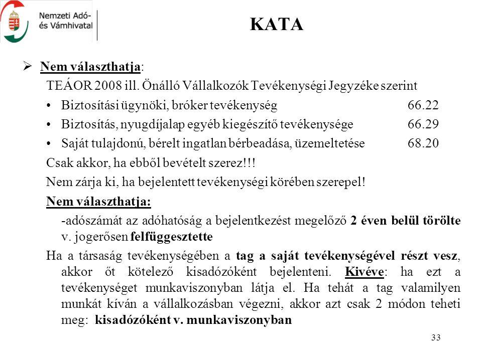 33 KATA  Nem választhatja: TEÁOR 2008 ill.