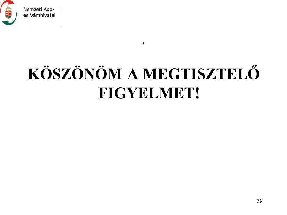 39. KÖSZÖNÖM A MEGTISZTELŐ FIGYELMET!