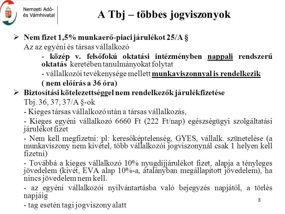 8 A Tbj – többes jogviszonyok  Nem fizet 1,5% munkaerő-piaci járulékot 25/A § Az az egyéni és társas vállalkozó - közép v.