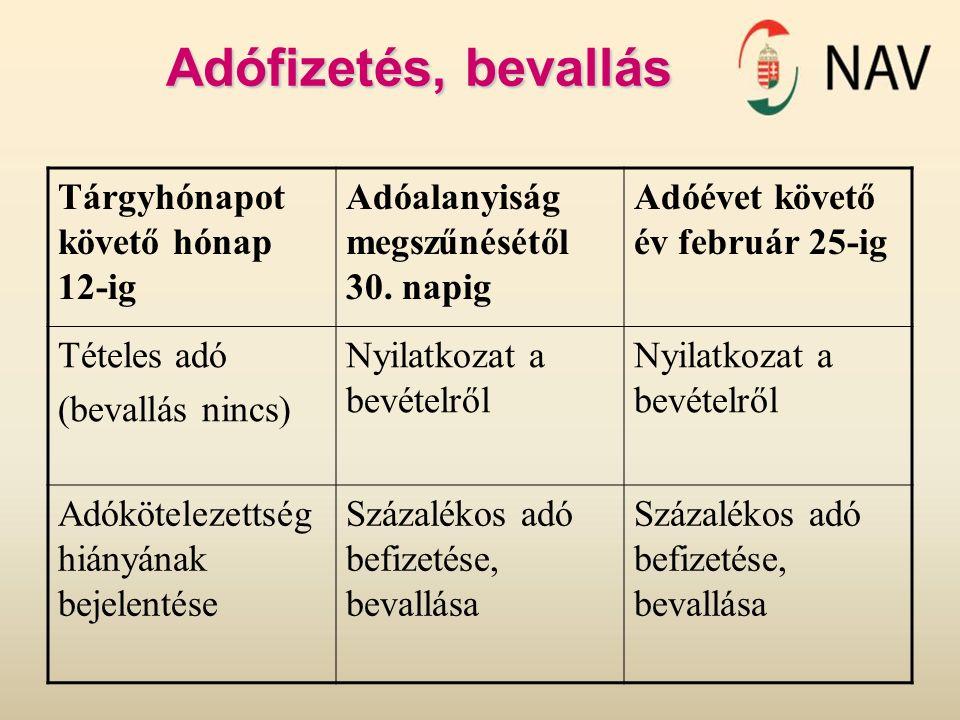 Adófizetés, bevallás Tárgyhónapot követő hónap 12-ig Adóalanyiság megszűnésétől 30. napig Adóévet követő év február 25-ig Tételes adó (bevallás nincs)