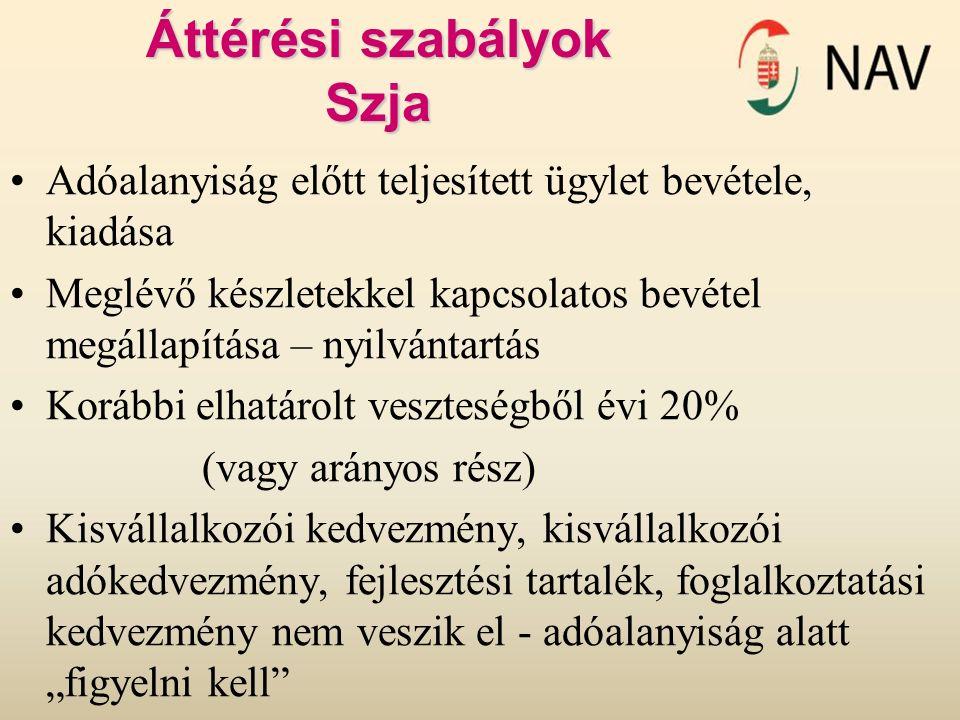 Áttérési szabályok Szja Adóalanyiság előtt teljesített ügylet bevétele, kiadása Meglévő készletekkel kapcsolatos bevétel megállapítása – nyilvántartás