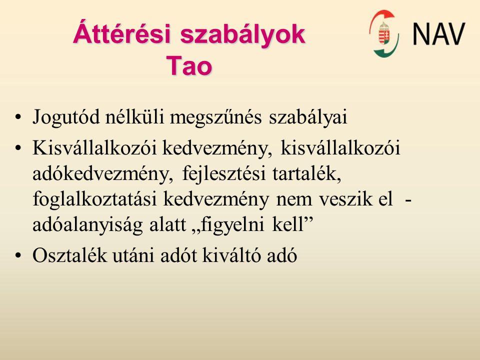 Áttérési szabályok Tao Jogutód nélküli megszűnés szabályai Kisvállalkozói kedvezmény, kisvállalkozói adókedvezmény, fejlesztési tartalék, foglalkoztat