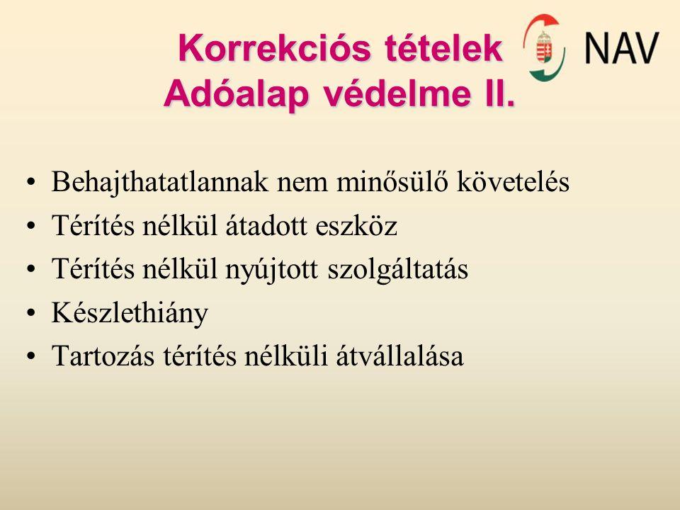 Korrekciós tételek Adóalap védelme II.