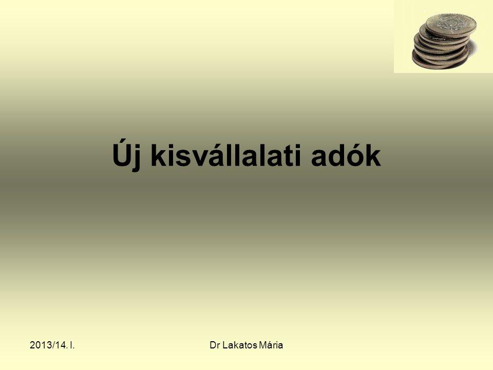 2013/14. I.Dr Lakatos Mária Új kisvállalati adók