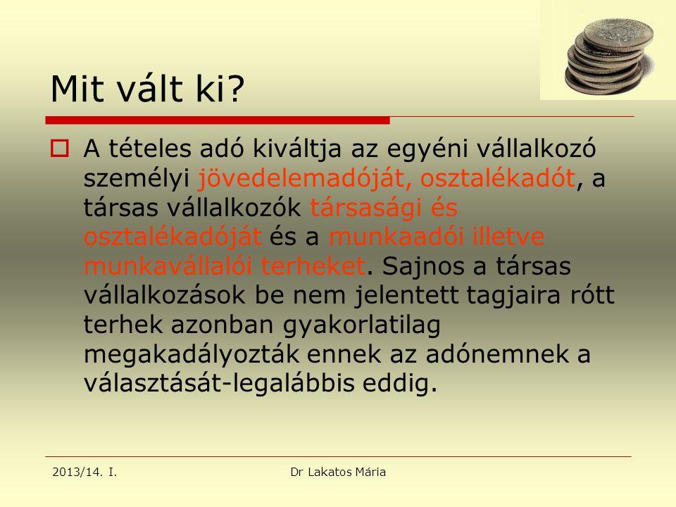 2013/14. I.Dr Lakatos Mária Mit vált ki.