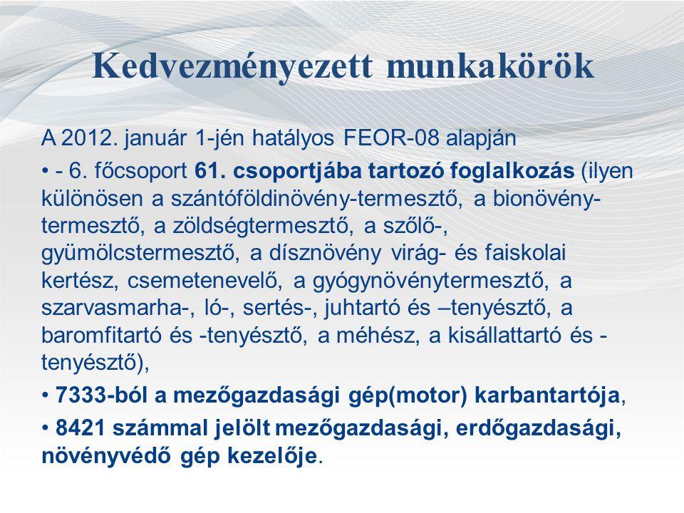 Kedvezményezett munkakörök A 2012.január 1-jén hatályos FEOR-08 alapján - 6.