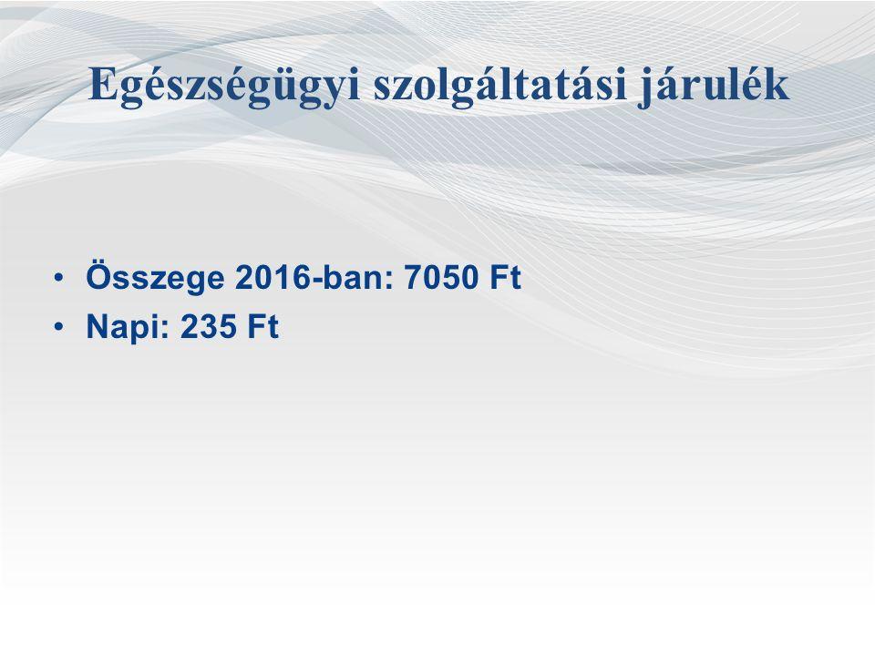Egészségügyi szolgáltatási járulék Összege 2016-ban: 7050 Ft Napi: 235 Ft