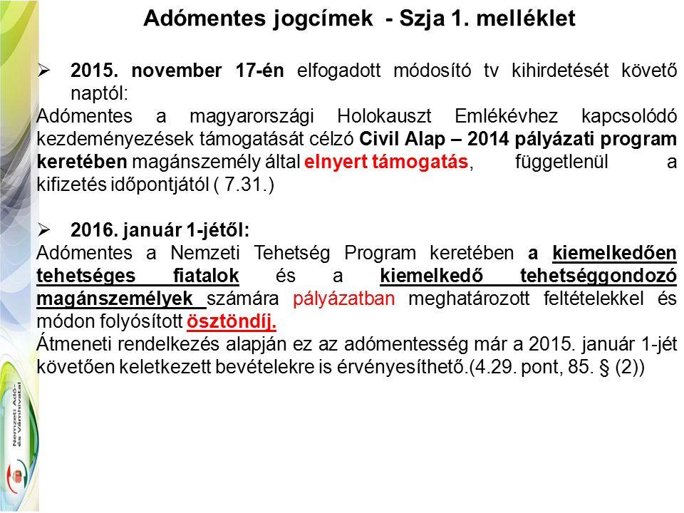Adómentes jogcímek - Szja 1. melléklet  2015.