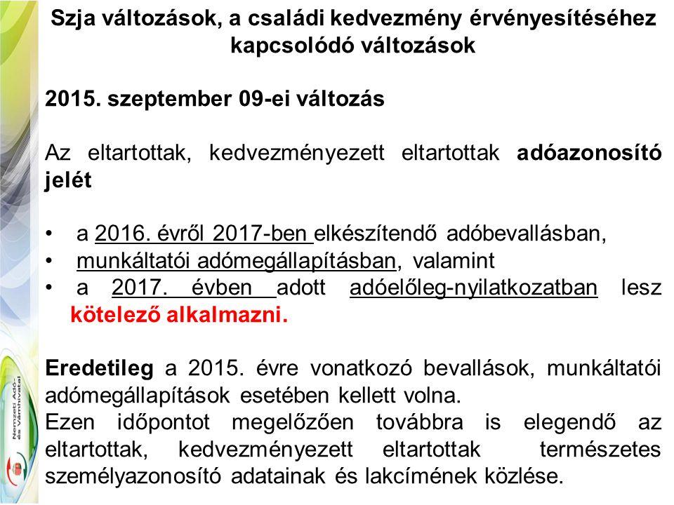 Adómentes jogcímek - Szja 1.melléklet  2015.