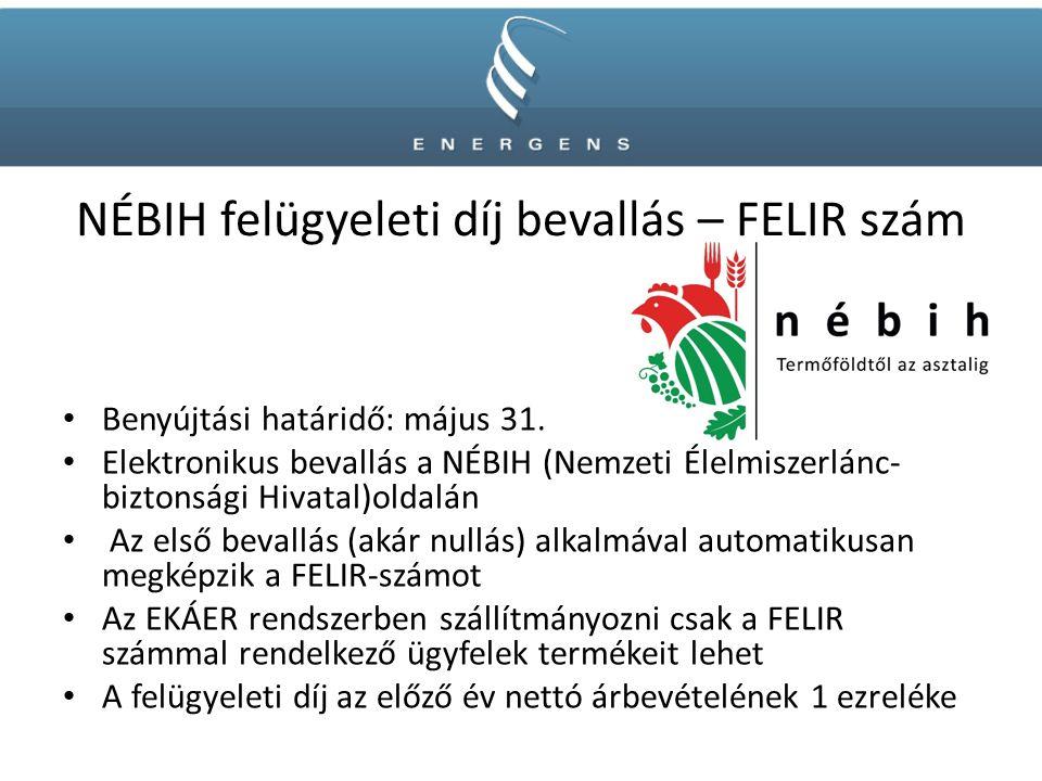 NÉBIH felügyeleti díj bevallás – FELIR szám Benyújtási határidő: május 31.