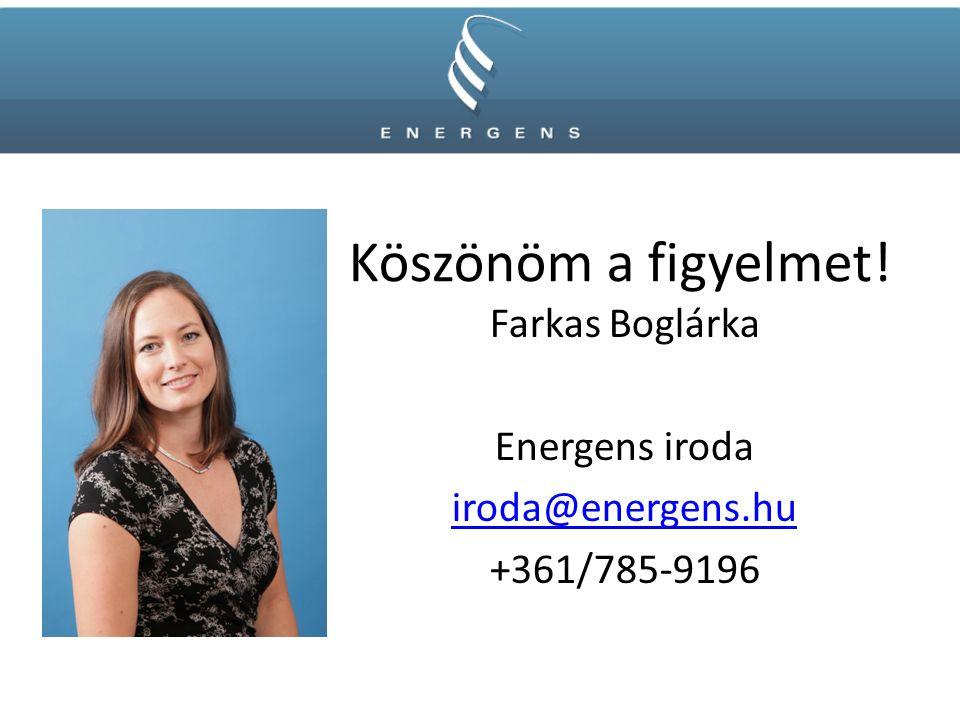 Köszönöm a figyelmet! Farkas Boglárka Energens iroda iroda@energens.hu +361/785-9196