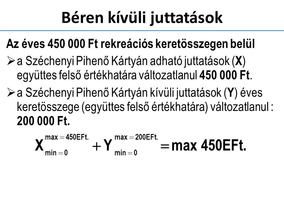 Béren kívüli juttatások Az éves 450 000 Ft rekreációs keretösszegen belül  a Széchenyi Pihenő Kártyán adható juttatások ( X ) együttes felső értékhatára változatlanul 450 000 Ft.