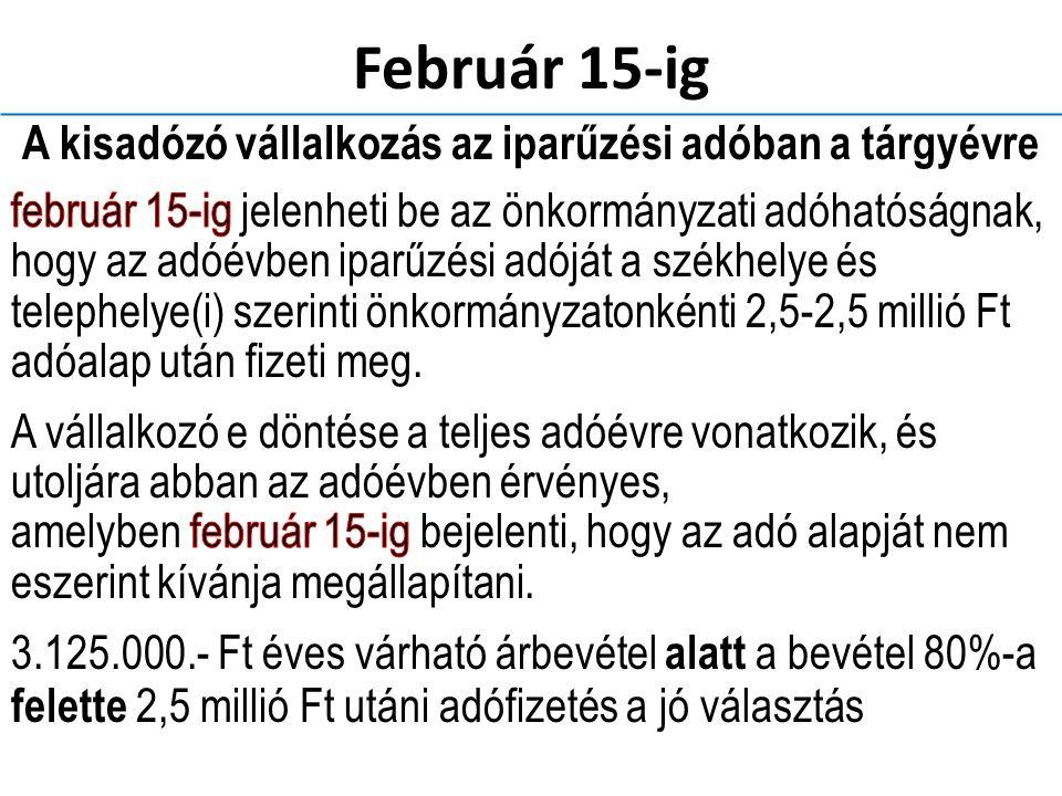 Március 31-ig 15K102 Adatszolgáltatás a kisadózó vállalkozás részére a 2015.