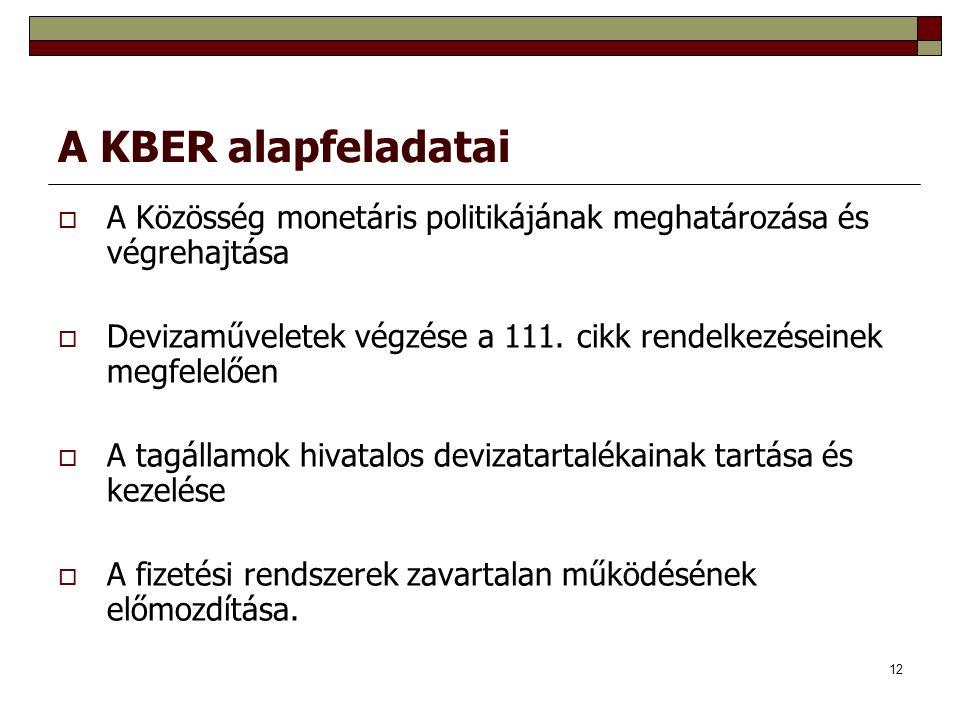 12 A KBER alapfeladatai  A Közösség monetáris politikájának meghatározása és végrehajtása  Devizaműveletek végzése a 111.