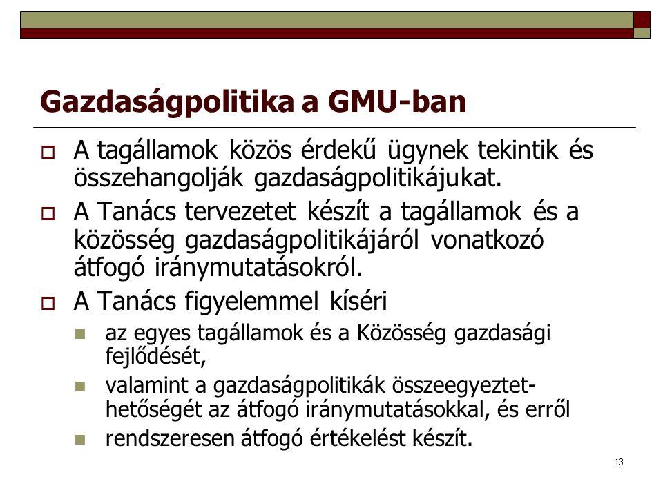 13 Gazdaságpolitika a GMU-ban  A tagállamok közös érdekű ügynek tekintik és összehangolják gazdaságpolitikájukat.