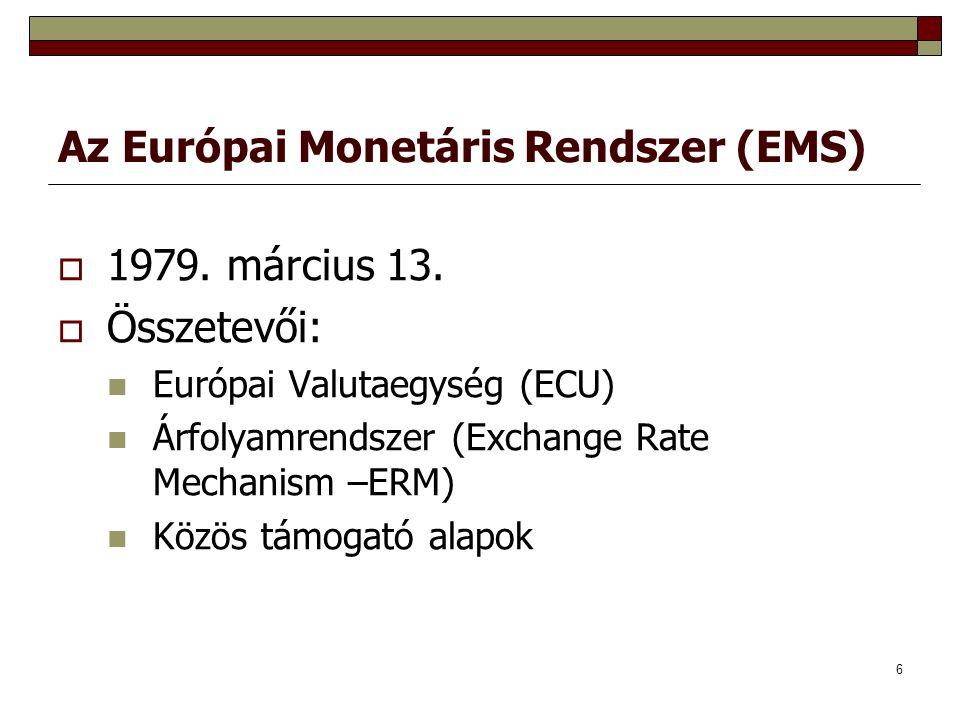6 Az Európai Monetáris Rendszer (EMS)  1979. március 13.