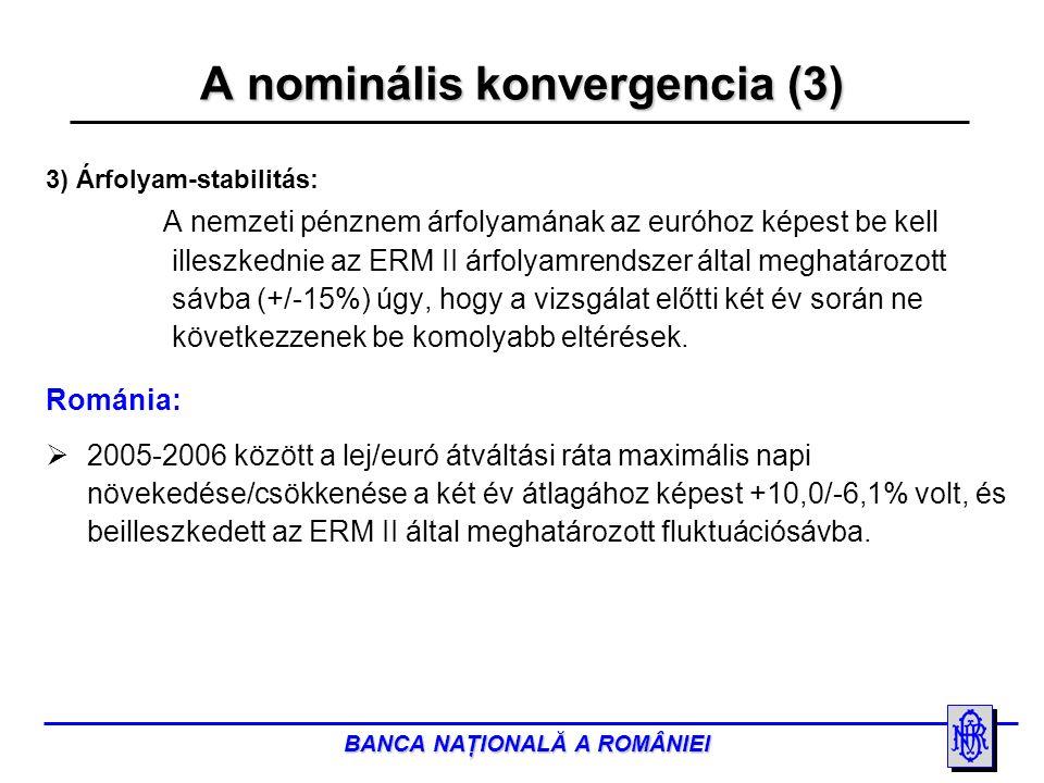 BANCA NAŢIONALĂ A ROMÂNIEI A nominális konvergencia (3) 3) Árfolyam-stabilitás: A nemzeti pénznem árfolyamának az euróhoz képest be kell illeszkednie az ERM II árfolyamrendszer által meghatározott sávba (+/-15%) úgy, hogy a vizsgálat előtti két év során ne következzenek be komolyabb eltérések.