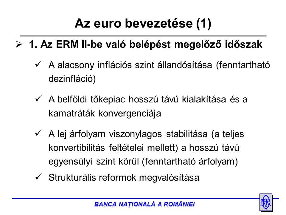 BANCA NAŢIONALĂ A ROMÂNIEI  2.Az ERM II-be való belépés a tervek szerint 2012-ben történik meg.