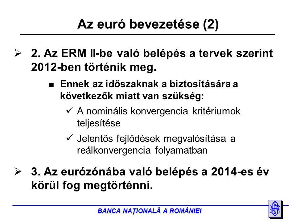 BANCA NAŢIONALĂ A ROMÂNIEI  2. Az ERM II-be való belépés a tervek szerint 2012-ben történik meg.