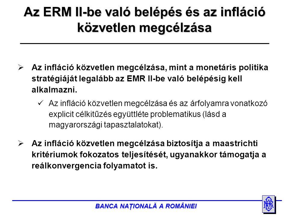 BANCA NAŢIONALĂ A ROMÂNIEI  Az infláció közvetlen megcélzása, mint a monetáris politika stratégiáját legalább az EMR II-be való belépésig kell alkalmazni.