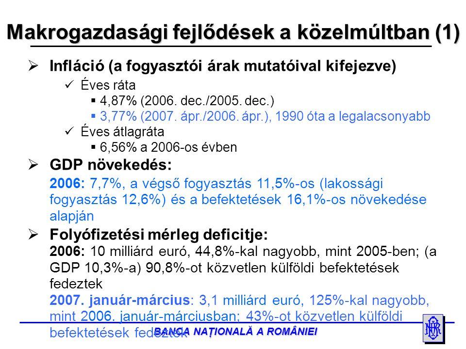 BANCA NAŢIONALĂ A ROMÂNIEI Makrogazdasági fejlődések a közelmúltban (2)  Közvetlen külföldi befektetések: 2006: 9,1 milliárd euró, 72,8%-kal nagyobb, mint 2005-ben 2007.