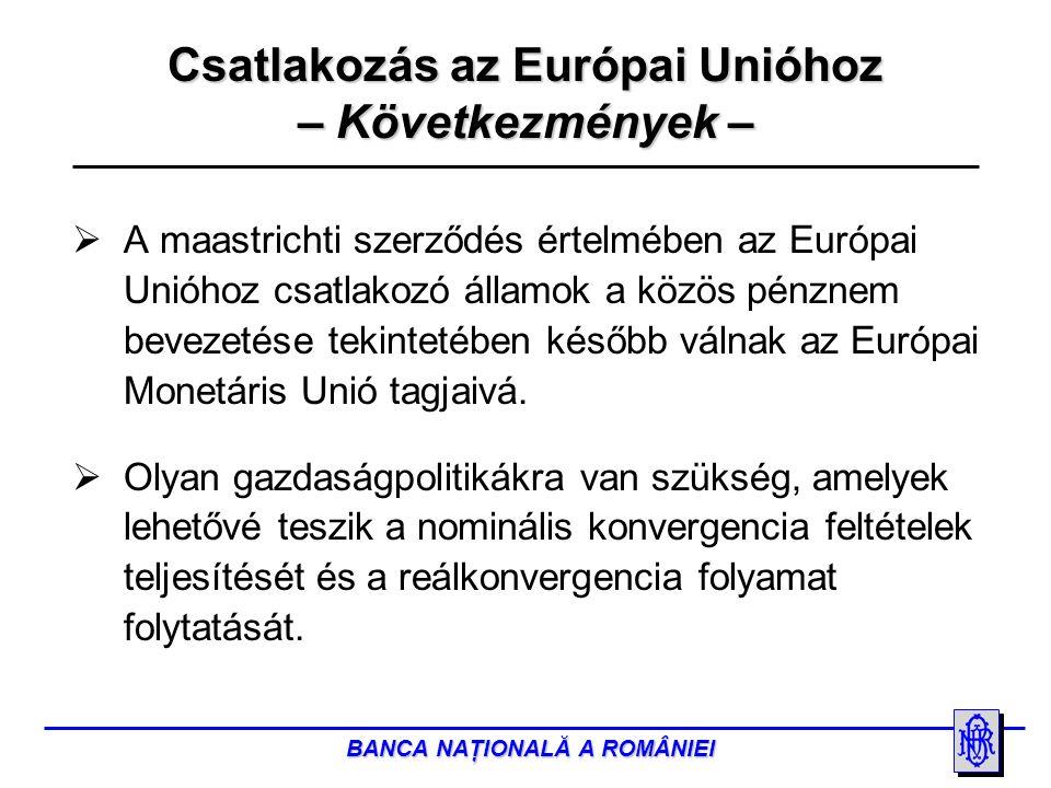 BANCA NAŢIONALĂ A ROMÂNIEI Csatlakozás az Európai Unióhoz – Következmények –  A maastrichti szerződés értelmében az Európai Unióhoz csatlakozó államok a közös pénznem bevezetése tekintetében később válnak az Európai Monetáris Unió tagjaivá.