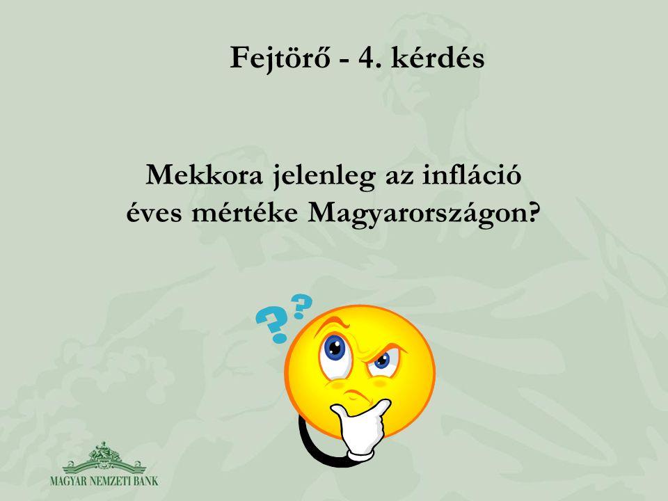 Mekkora jelenleg az infláció éves mértéke Magyarországon? Fejtörő - 4. kérdés