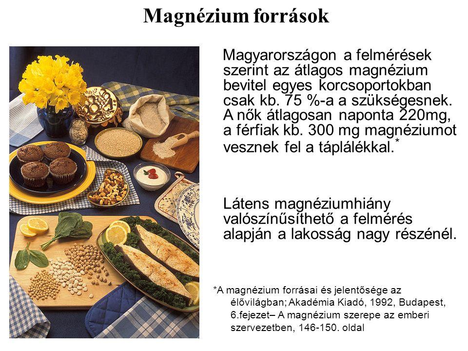 Magyarországon a felmérések szerint az átlagos magnézium bevitel egyes korcsoportokban csak kb.