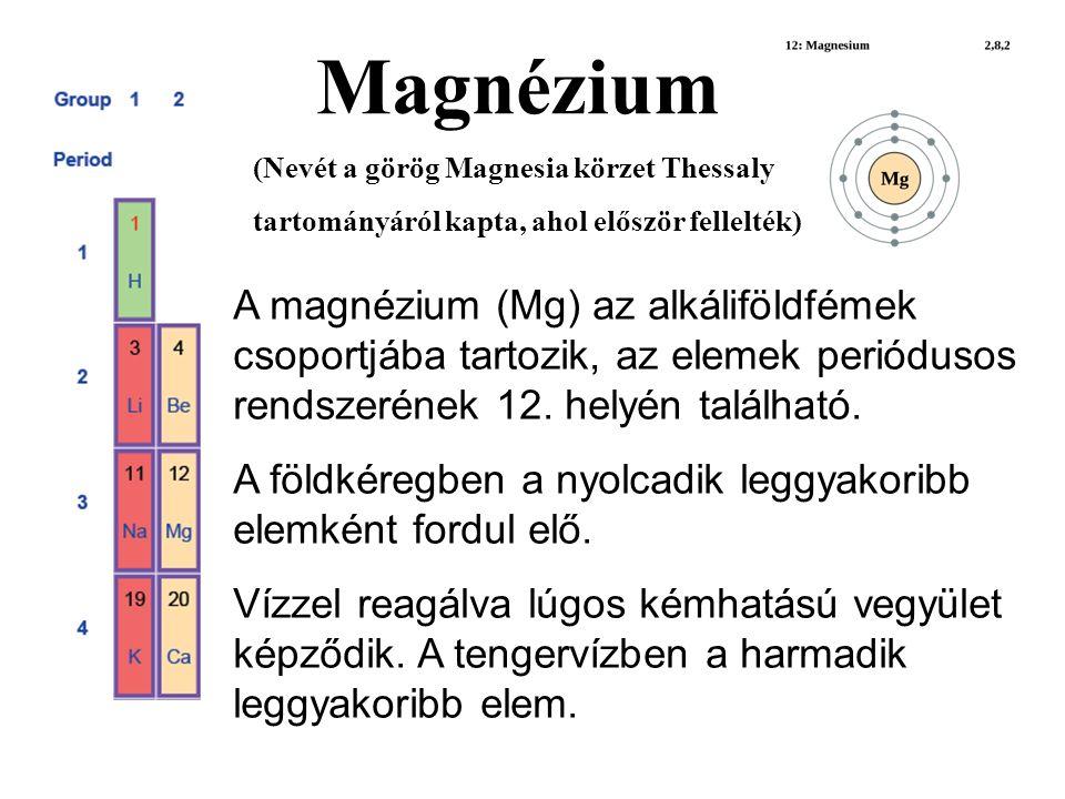 A magnézium (Mg) az alkáliföldfémek csoportjába tartozik, az elemek periódusos rendszerének 12.