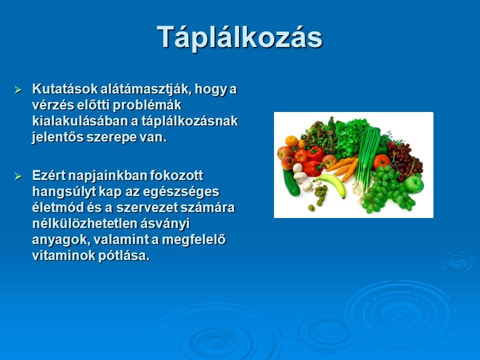 Kutatások alátámasztják, hogy a vérzés előtti problémák kialakulásában a táplálkozásnak jelentős szerepe van.
