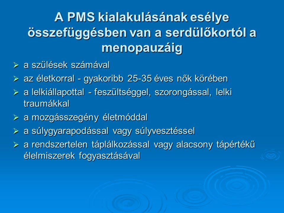 Színes tünetegyüttes  Több mint 200 tünetet lehet a PMS-sel kapcsolatba hozni, amelyek nem csak az érintett nőt, hanem többnyire a környezetében élőket is megviselik.