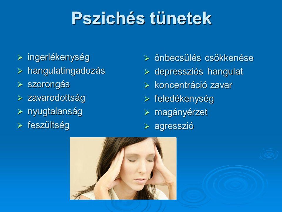 Pszichés tünetek  ingerlékenység  hangulatingadozás  szorongás  zavarodottság  nyugtalanság  feszültség  önbecsülés csökkenése  depressziós hangulat  koncentráció zavar  feledékenység  magányérzet  agresszió