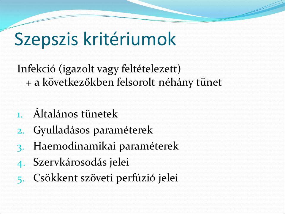 Szepszis kritériumok Infekció (igazolt vagy feltételezett) + a következőkben felsorolt néhány tünet 1.