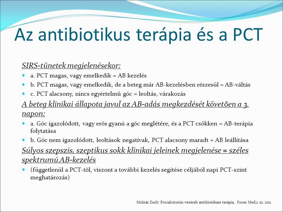 Az antibiotikus terápia és a PCT SIRS-tünetek megjelenésekor: a.