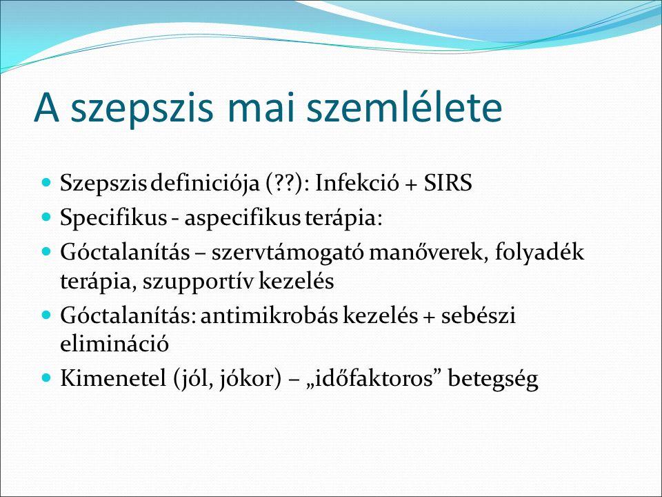 """A szepszis mai szemlélete Szepszis definiciója ( ): Infekció + SIRS Specifikus - aspecifikus terápia: Góctalanítás – szervtámogató manőverek, folyadék terápia, szupportív kezelés Góctalanítás: antimikrobás kezelés + sebészi elimináció Kimenetel (jól, jókor) – """"időfaktoros betegség"""