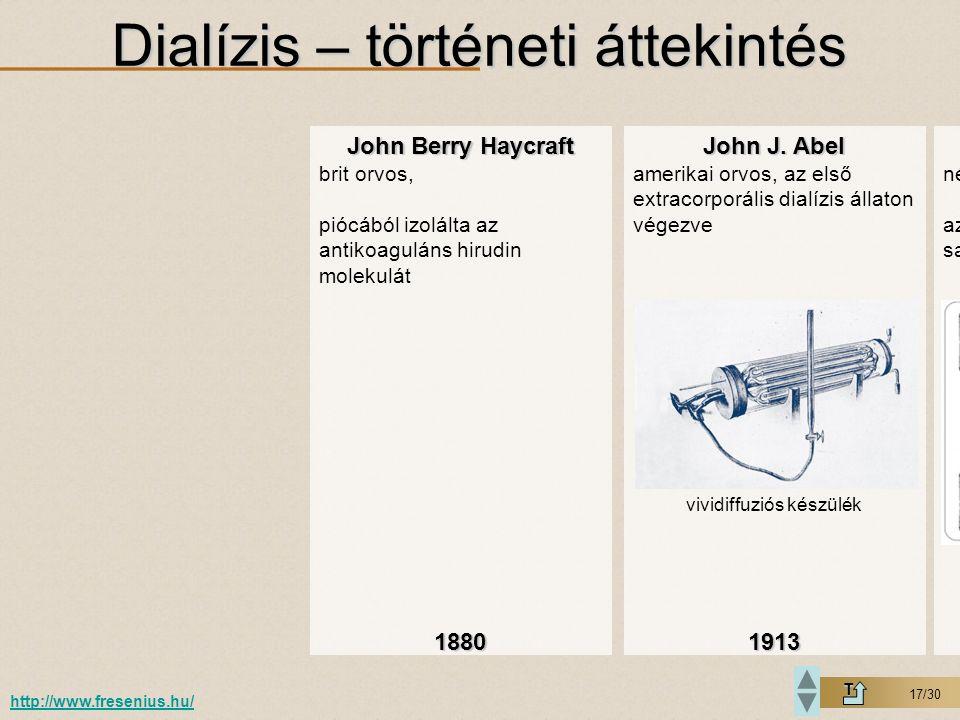 17/30 Dialízis – történeti áttekintés T http://www.fresenius.hu/ John Berry Haycraft brit orvos, piócából izolálta az antikoaguláns hirudin molekulát1