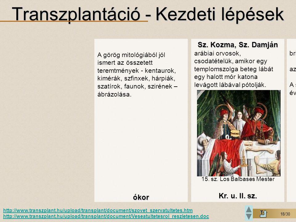 18/30 Transzplantáció - Kezdeti lépések T http://www.transzplant.hu/upload/transplant/document/szovet_szervatultetes.htm http://www.transzplant.hu/upl