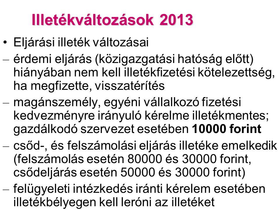 Illetékváltozások 2013 Eljárási illeték változásai – érdemi eljárás (közigazgatási hatóság előtt) hiányában nem kell illetékfizetési kötelezettség, ha megfizette, visszatérítés – magánszemély, egyéni vállalkozó fizetési kedvezményre irányuló kérelme illetékmentes; gazdálkodó szervezet esetében 10000 forint – csőd-, és felszámolási eljárás illetéke emelkedik (felszámolás esetén 80000 és 30000 forint, csődeljárás esetén 50000 és 30000 forint) – felügyeleti intézkedés iránti kérelem esetében illetékbélyegen kell leróni az illetéket