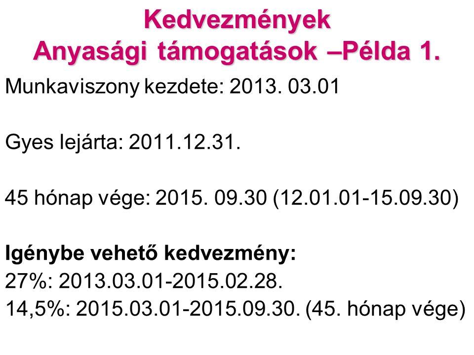 Kedvezmények Anyasági támogatások –Példa 1. Munkaviszony kezdete: 2013.