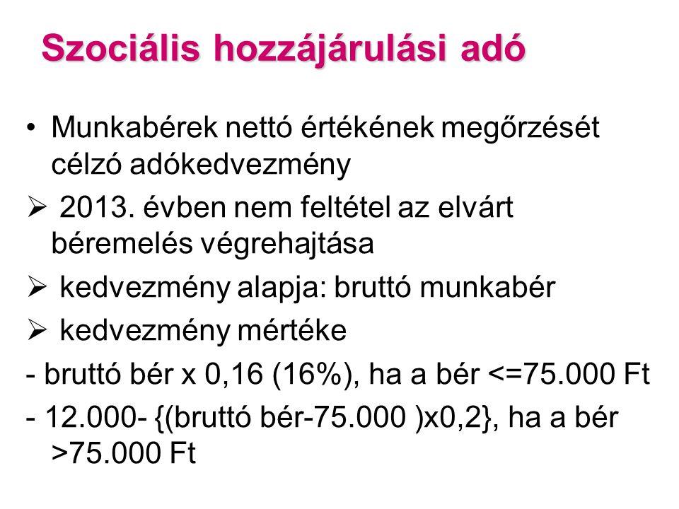 Szociális hozzájárulási adó Munkabérek nettó értékének megőrzését célzó adókedvezmény  2013.