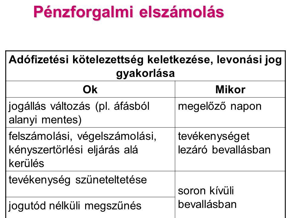 Pénzforgalmi elszámolás Adófizetési kötelezettség keletkezése, levonási jog gyakorlása OkMikor jogállás változás (pl.