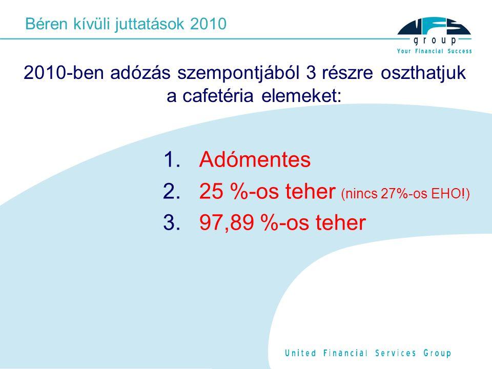 2010-ben adózás szempontjából 3 részre oszthatjuk a cafetéria elemeket: 1.
