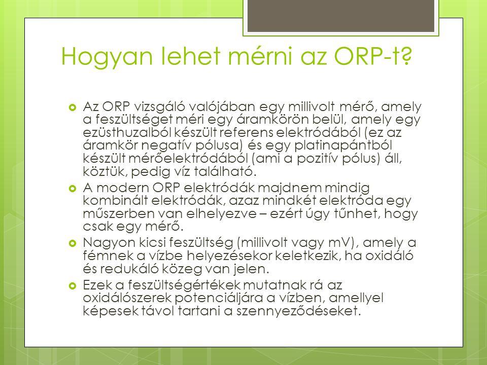 Hogyan lehet mérni az ORP-t?  Az ORP vizsgáló valójában egy millivolt mérő, amely a feszültséget méri egy áramkörön belül, amely egy ezüsthuzalból ké