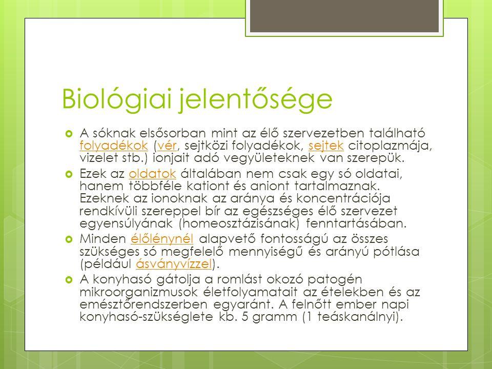 Biológiai jelentősége  A sóknak elsősorban mint az élő szervezetben található folyadékok (vér, sejtközi folyadékok, sejtek citoplazmája, vizelet stb.