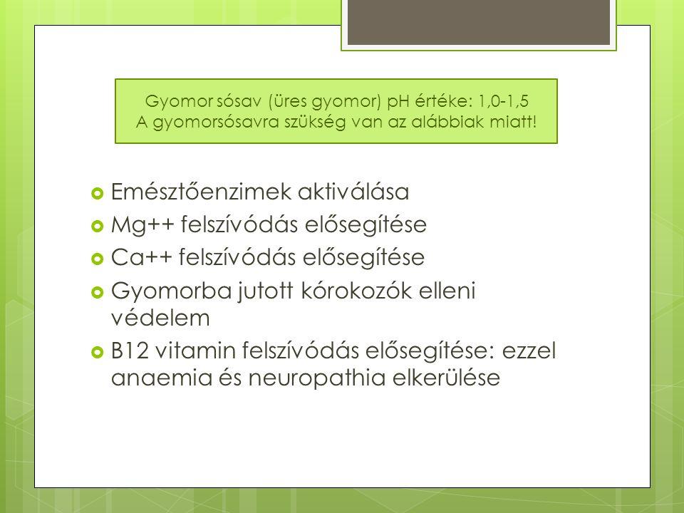  Emésztőenzimek aktiválása  Mg++ felszívódás elősegítése  Ca++ felszívódás elősegítése  Gyomorba jutott kórokozók elleni védelem  B12 vitamin felszívódás elősegítése: ezzel anaemia és neuropathia elkerülése Gyomor sósav (üres gyomor) pH értéke: 1,0-1,5 A gyomorsósavra szükség van az alábbiak miatt!
