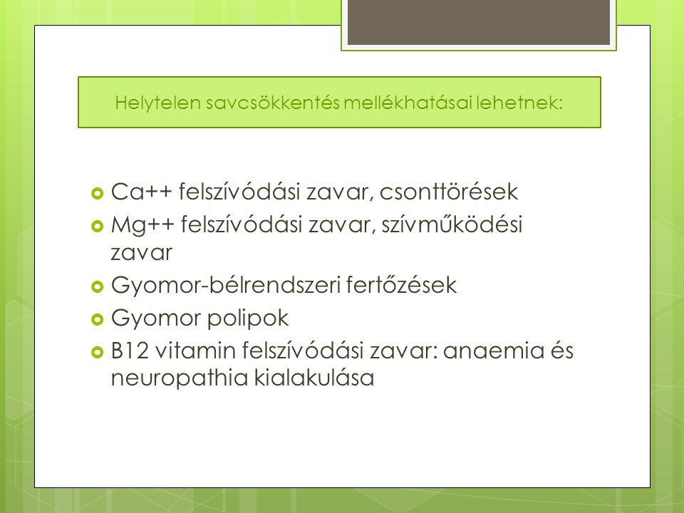  Ca++ felszívódási zavar, csonttörések  Mg++ felszívódási zavar, szívműködési zavar  Gyomor-bélrendszeri fertőzések  Gyomor polipok  B12 vitamin